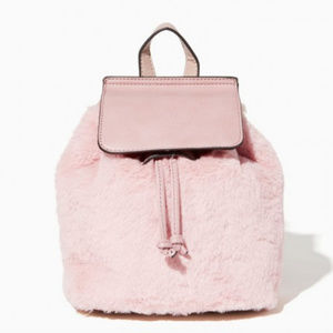 Charming Charlie Bags - Faux fur Pink Small Backpack Cute for Fall Winter